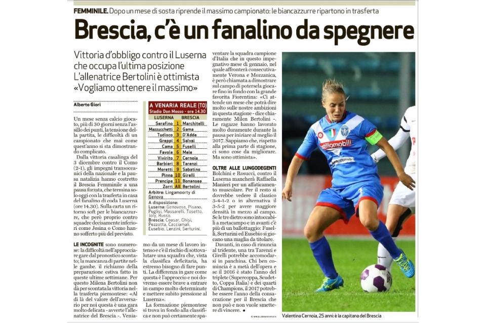 Bresciaoggi – 07/01/2017