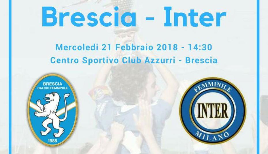 Coppa Italia, Brescia CF-Inter domani al Club Azzurri