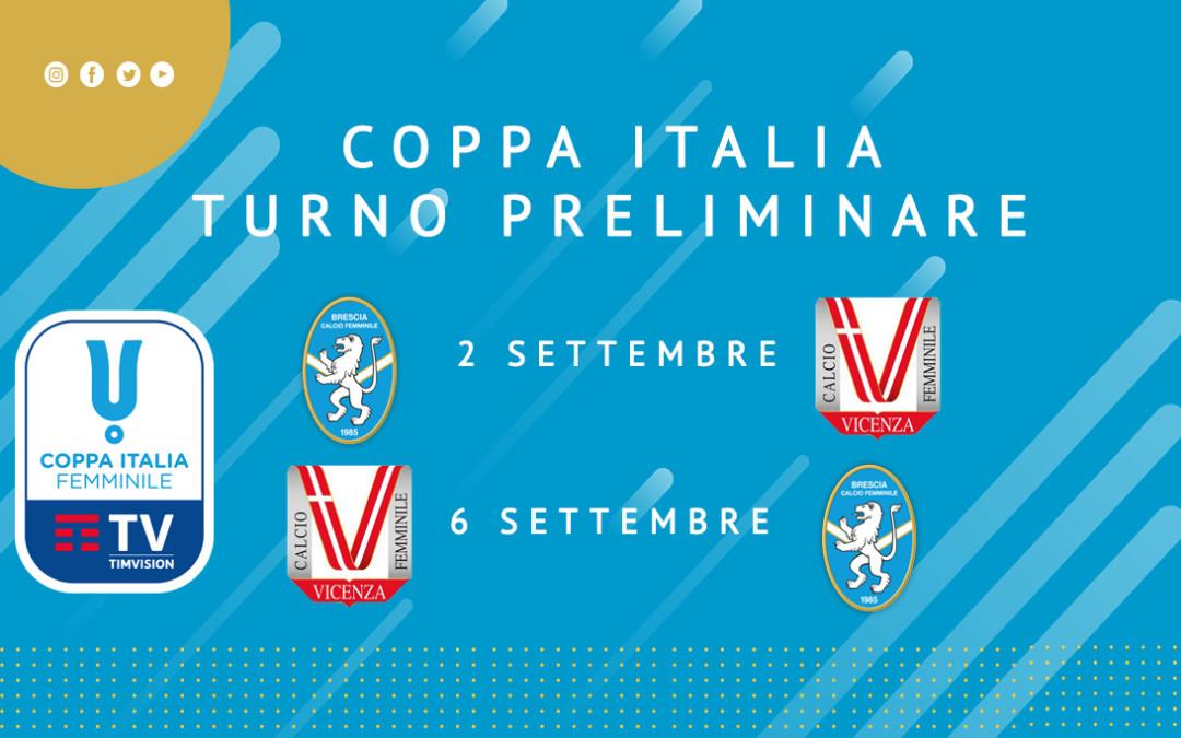 Coppa Italia: contro il Vicenza nel turno preliminare